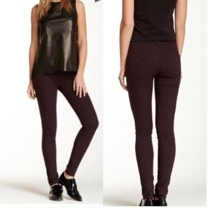 Vince Mulberry Textured Patterned Skinny Jeans